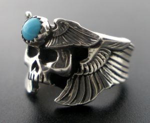 Web Skull Wing Ring W Turquose